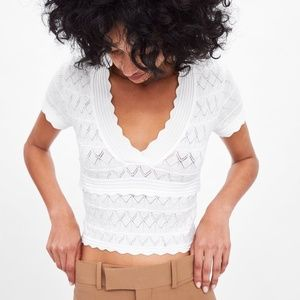 TAGS ON- CROPPED SHORT SLEEVE KNIT